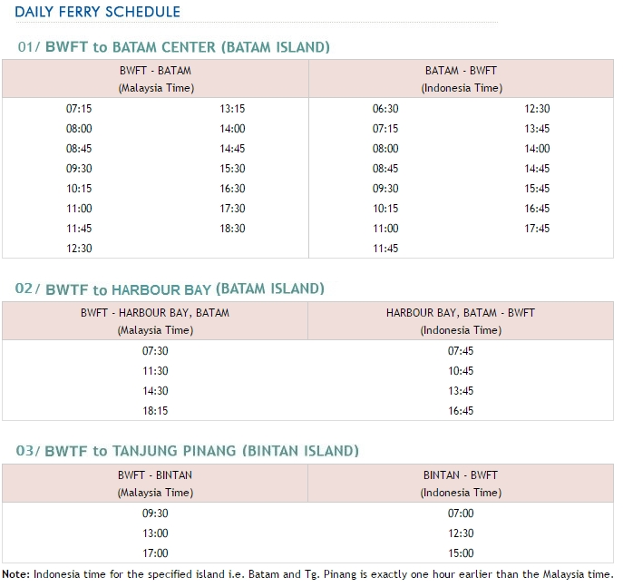 Johor Bharu to Batam Ferry Timetable Schedule